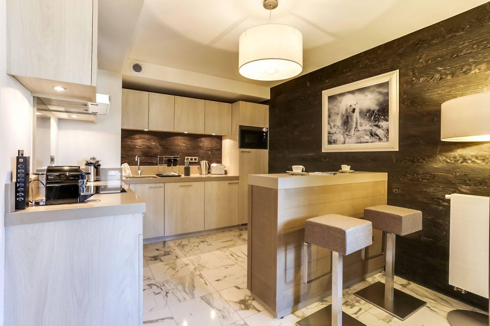 Courchevel 1550 Luxury Rental Appartment Telikia Kitchen