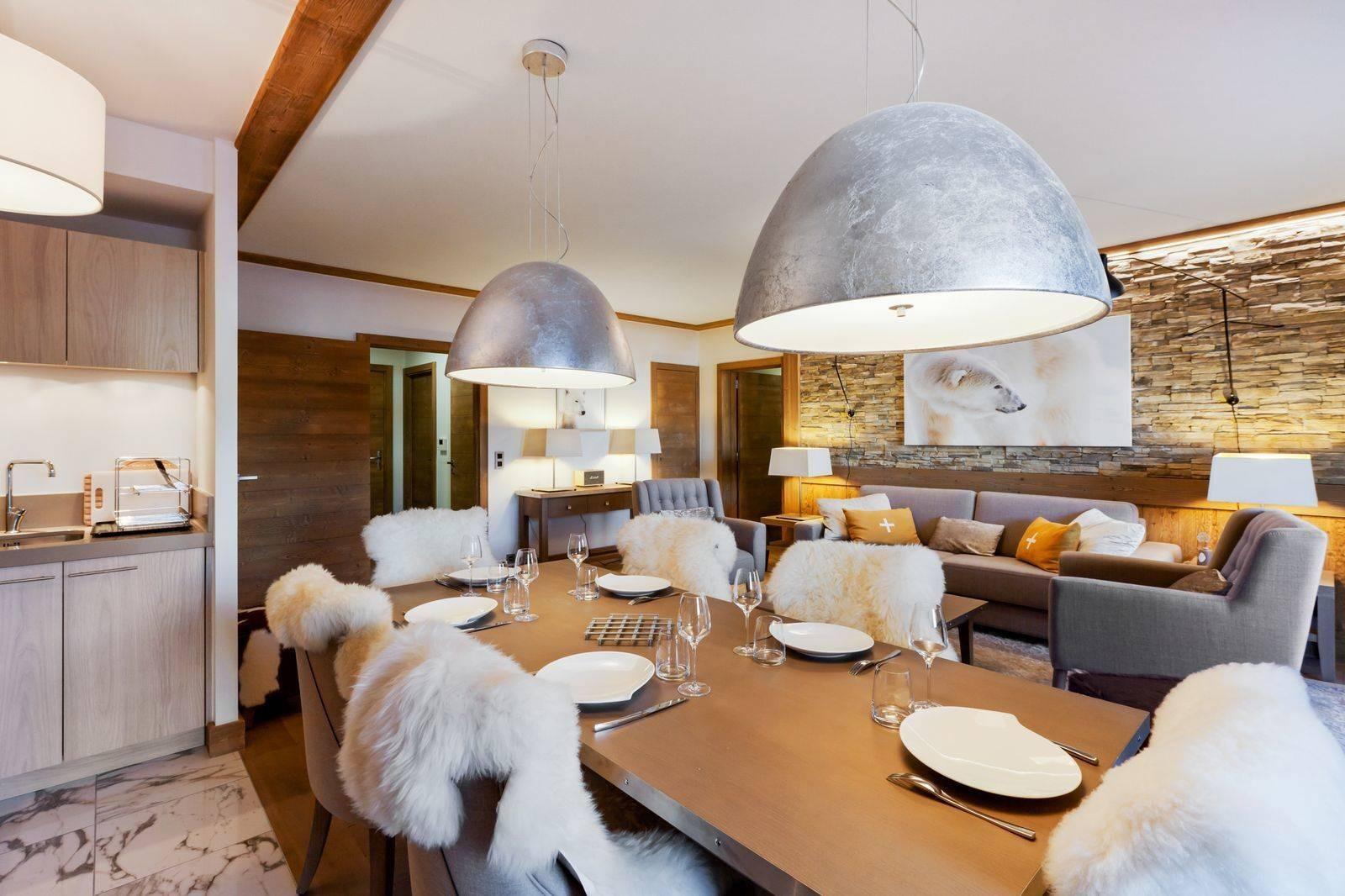 Courchevel 1550 Location Appartement Luxe Telokia Salle A Manger