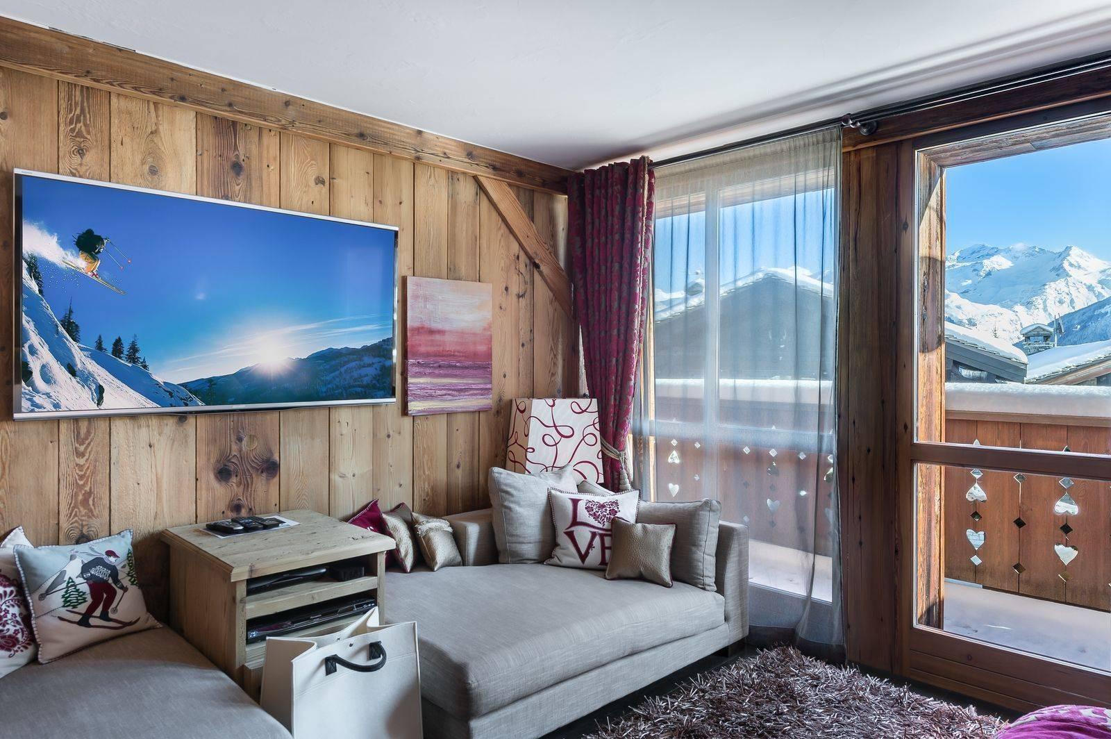Courchevel 1550 Luxury Rental Chalet Niobite Living Room 3
