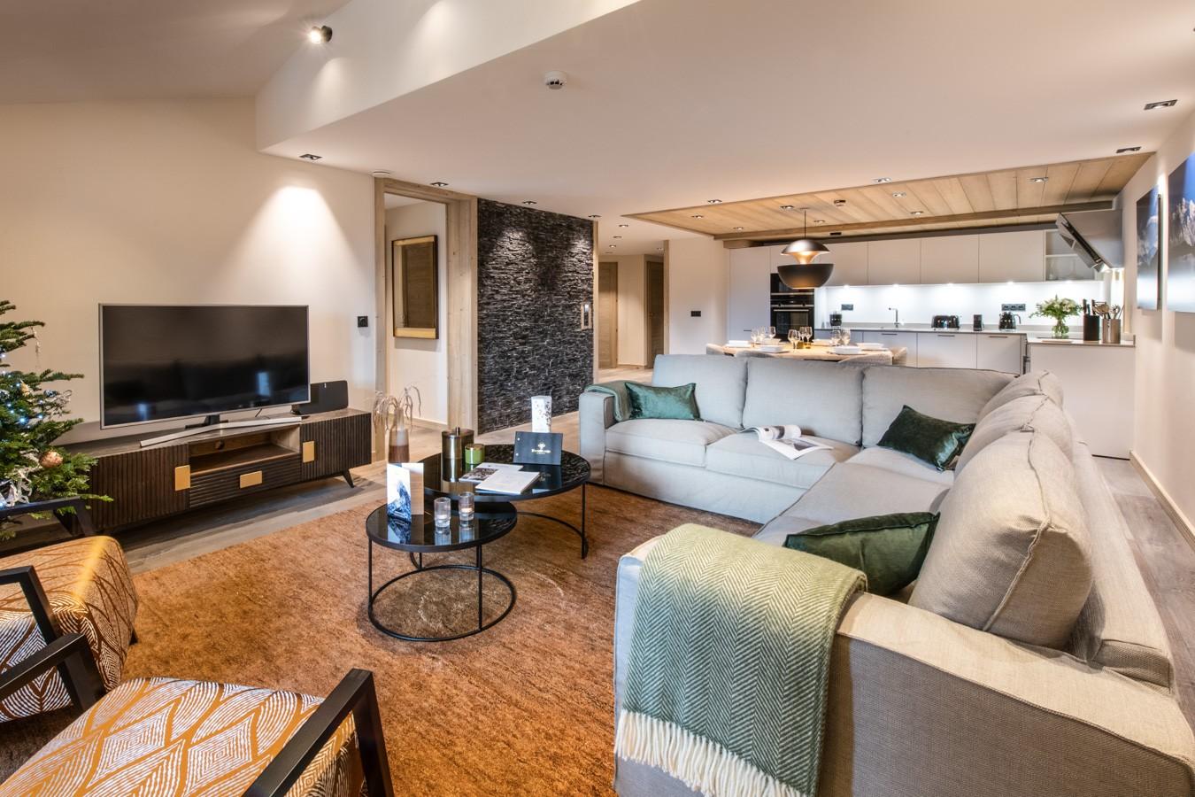 Courchevel 1650 Luxury Rental Appartment Auralite Living Room 2
