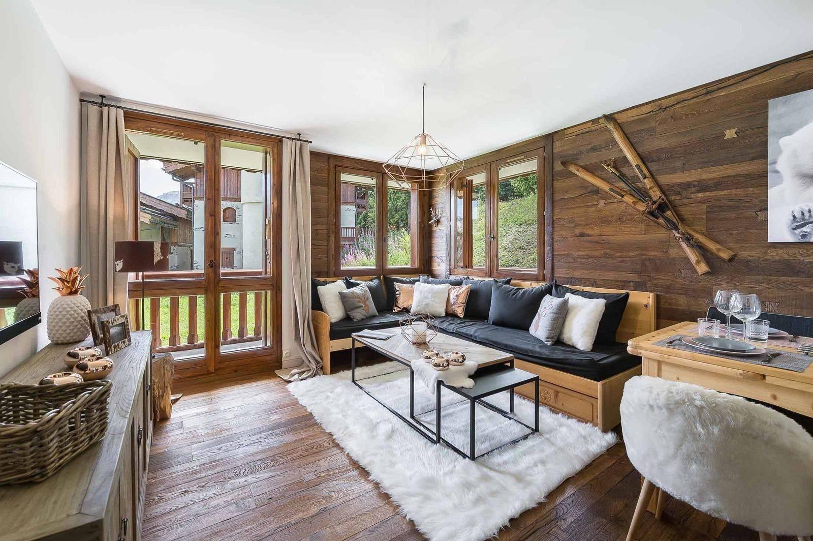 Courchevel 1850 Luxury Rental Appartment Eciello Living Room