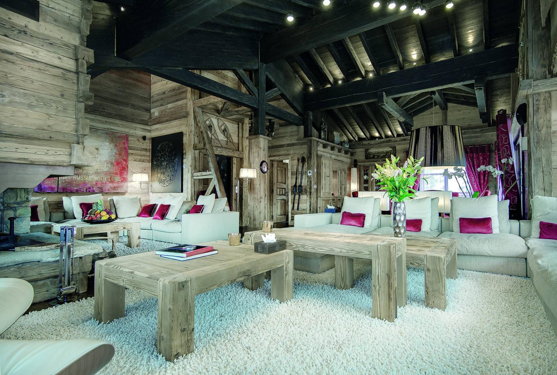 Courchevel 1850 Luxury Rental Chalet Bepalite Living Room