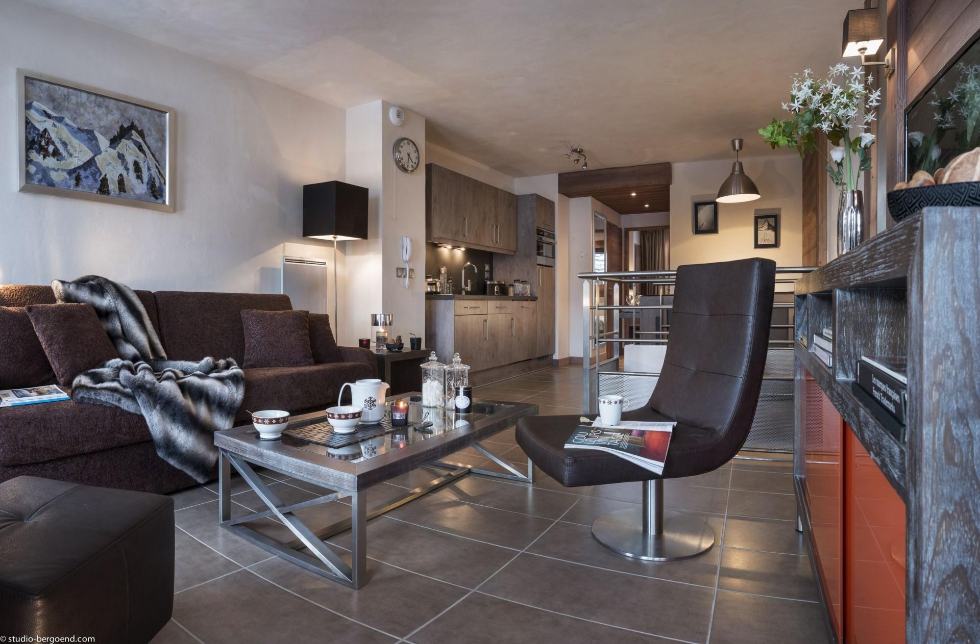 Flaine Rental Apartment Luxury Fangite DuplexLiving Room
