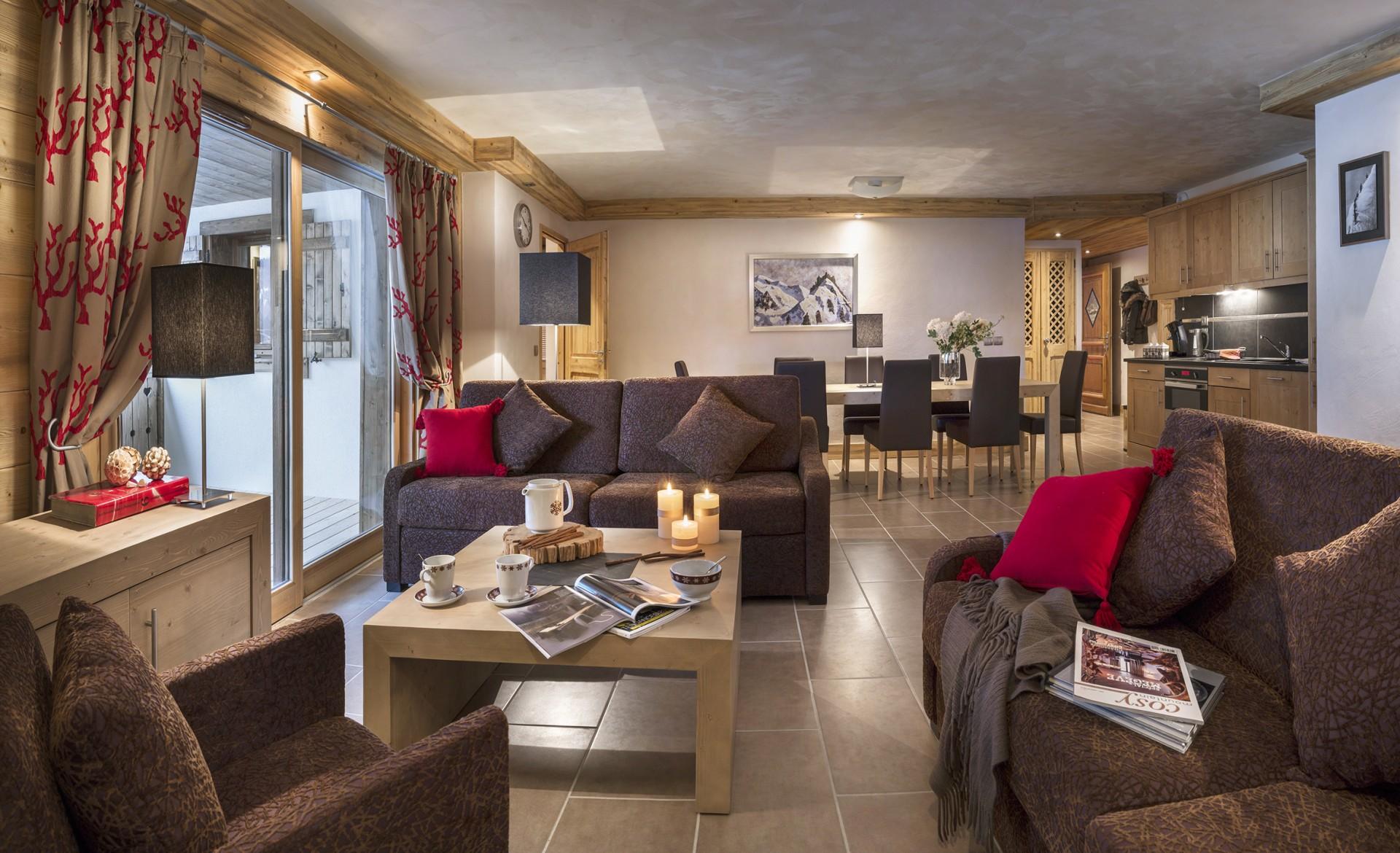 Flaine Location Appartement Luxe Fassaite Duplex Salon