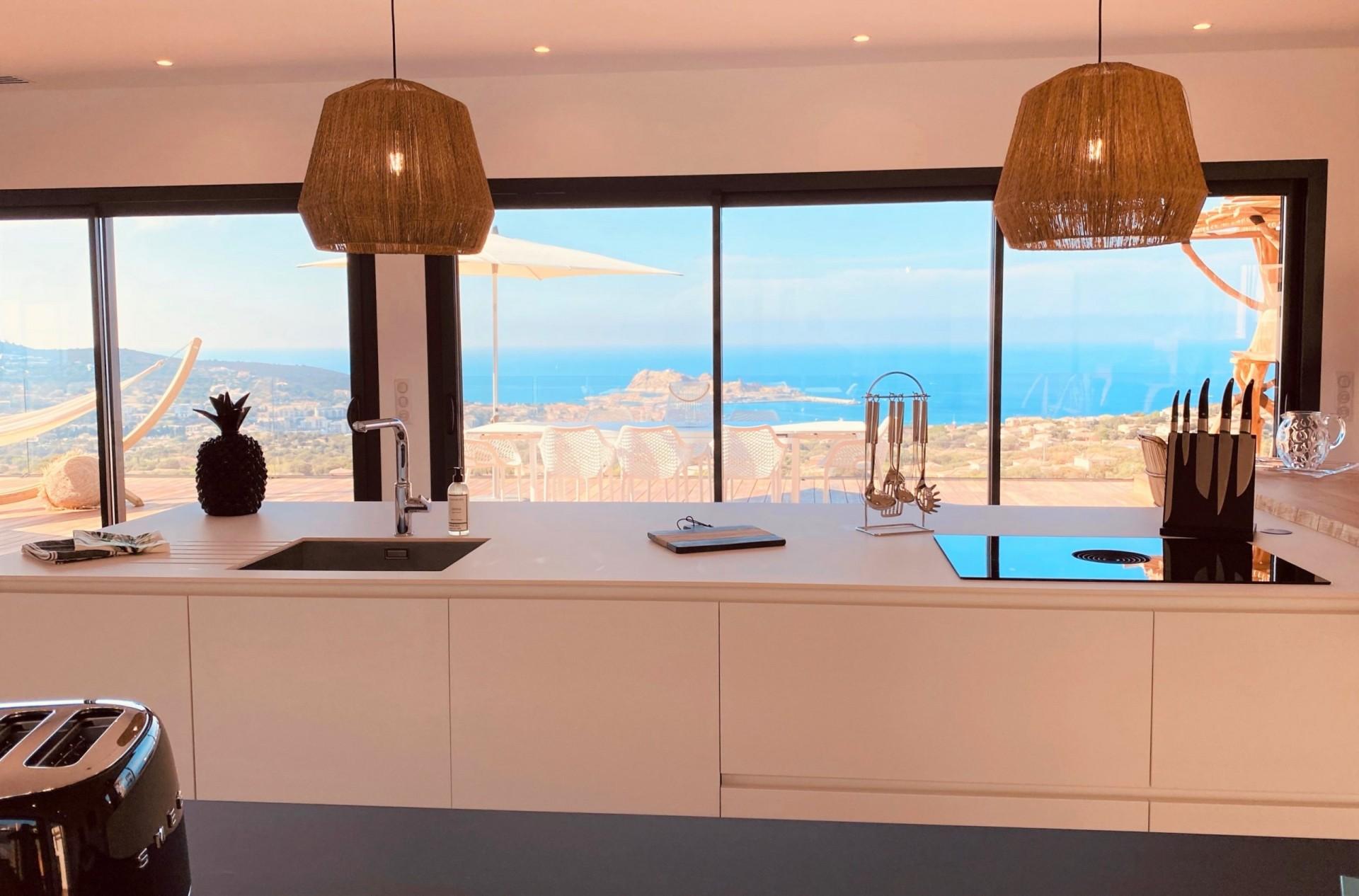 Ile Rousse Luxury Rental Villa Iris Violet Kitchen