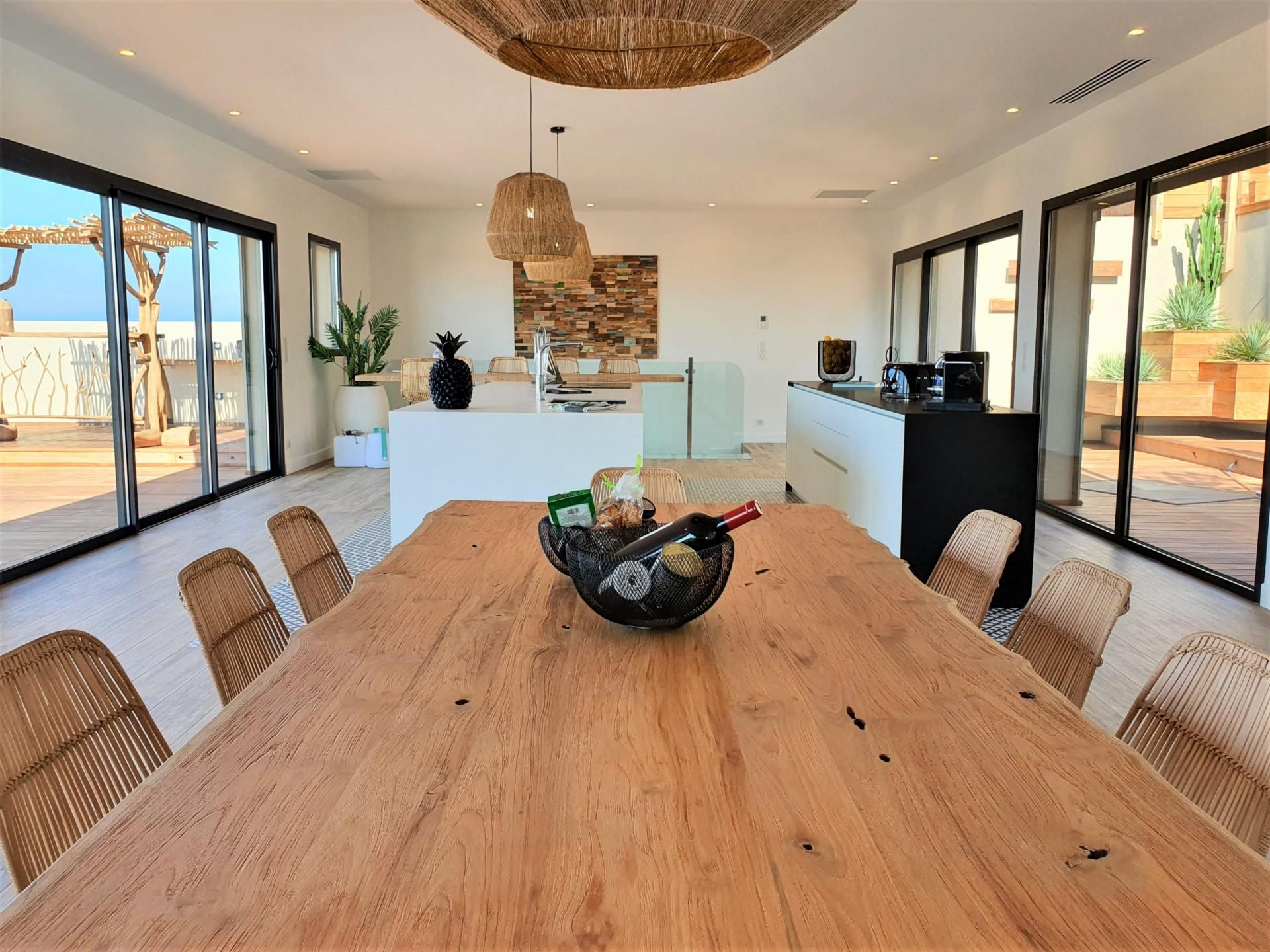 Ile Rousse Luxury Rental Villa Iris Violet Dining Room
