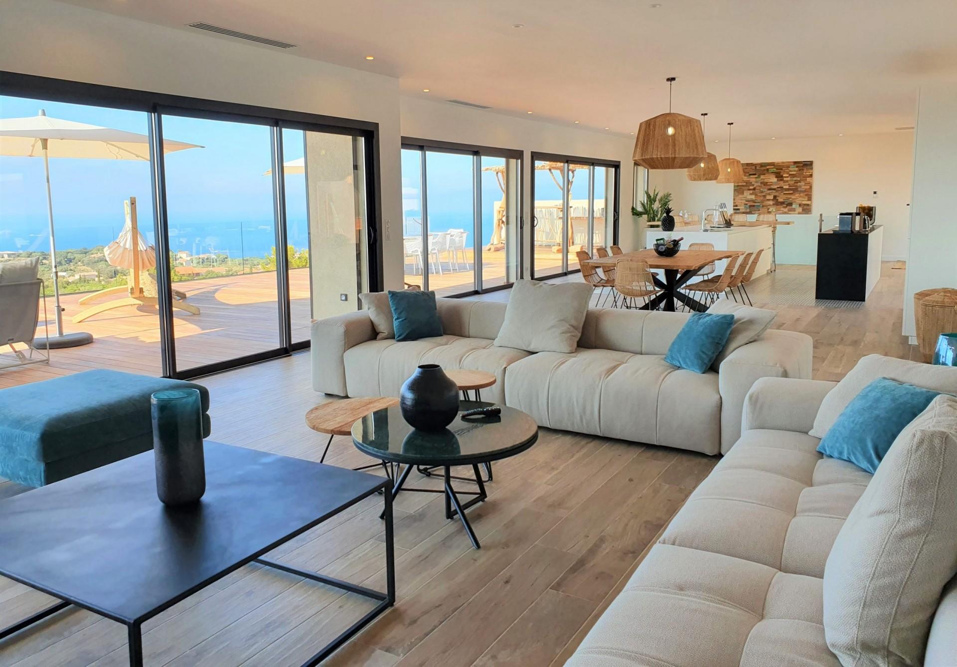 Ile Rousse Luxury Rental Villa Iris Violet Living Room
