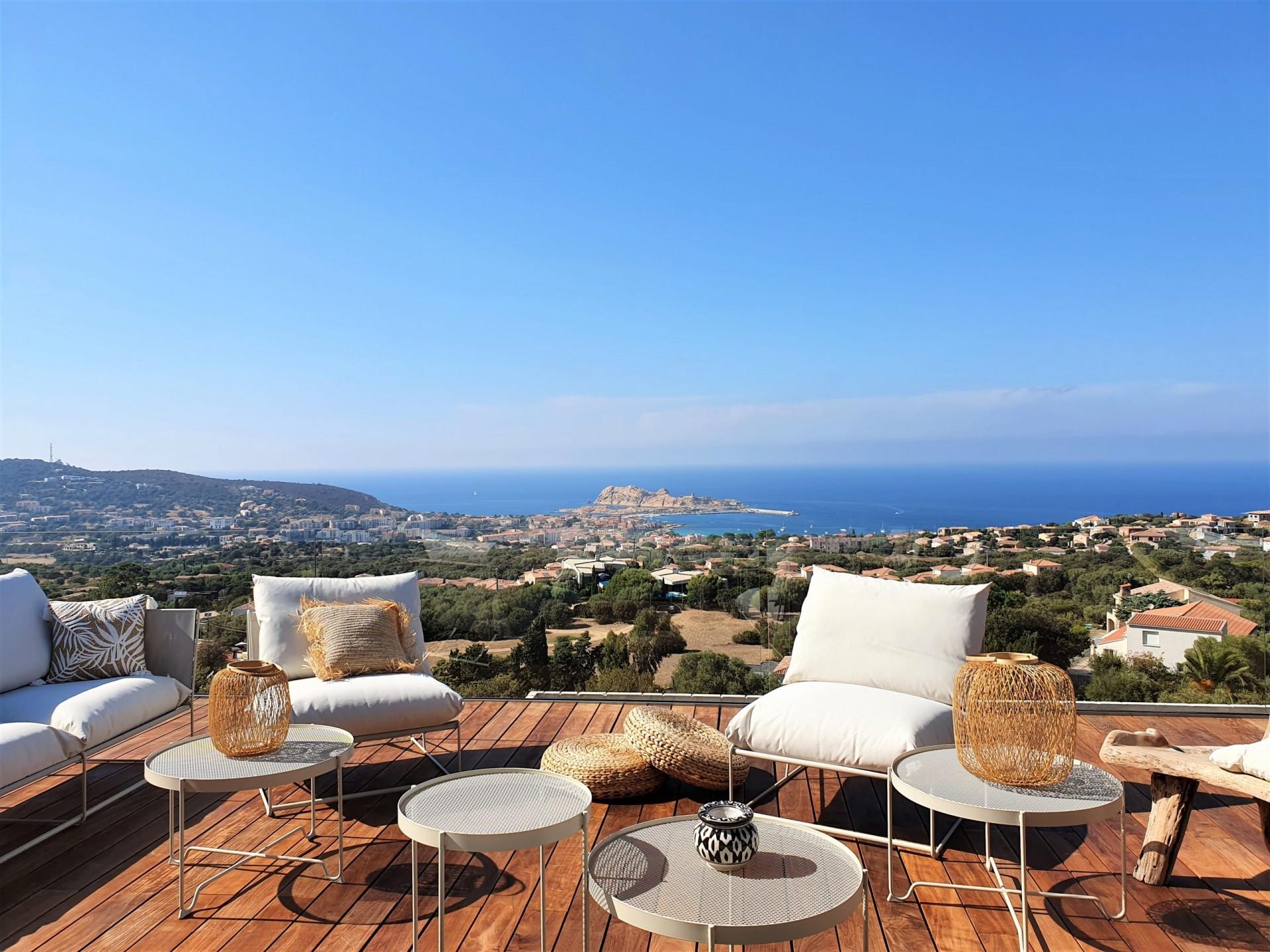 Ile Rousse Luxury Rental Villa Iris Violet Terrace