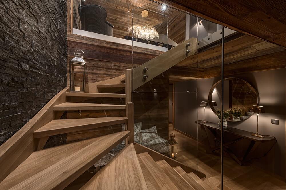 Les Gets Location Chalet Luxe Gedrute Escalier