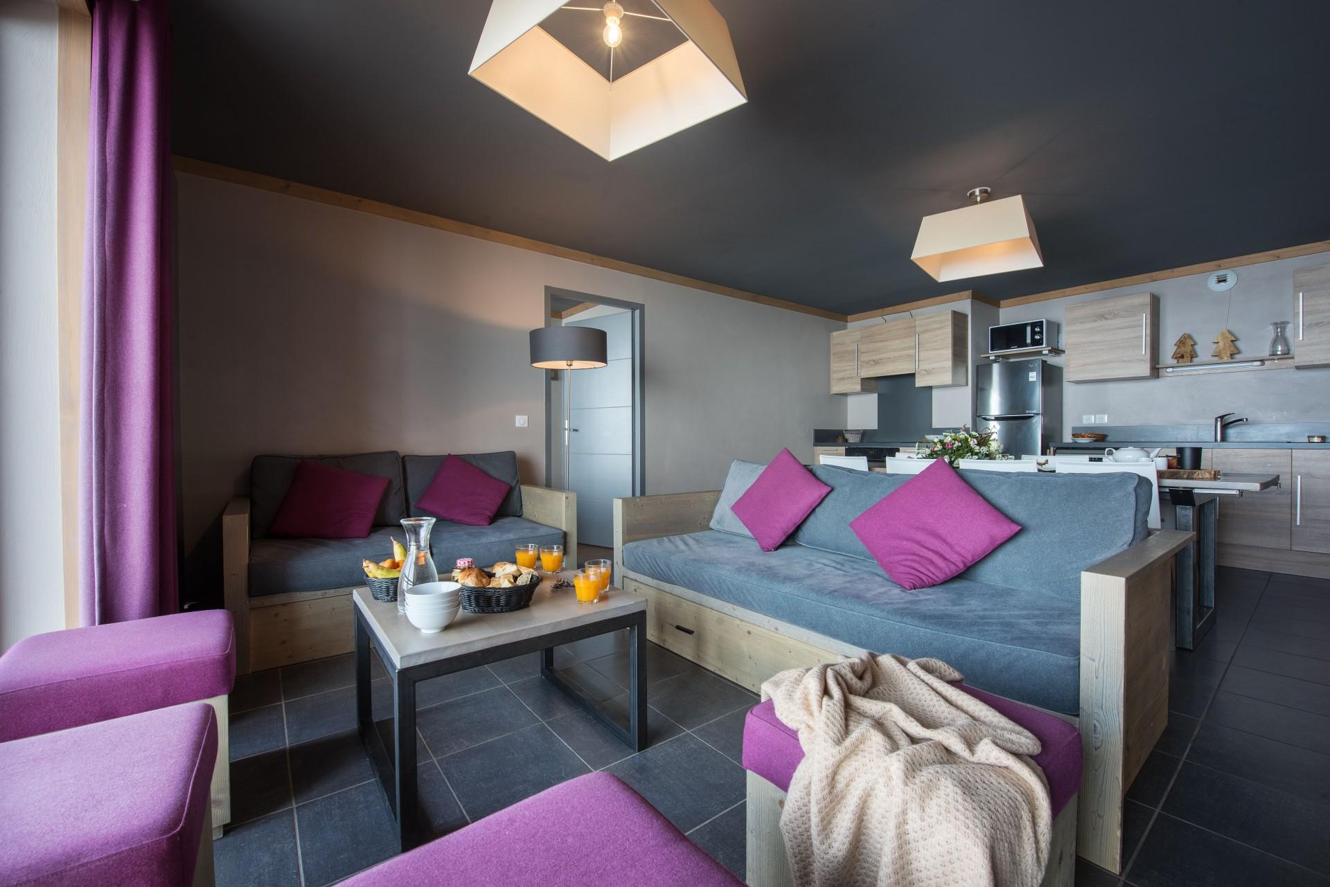 Les Menuires Location Appartement Luxe Calcino Salon 1