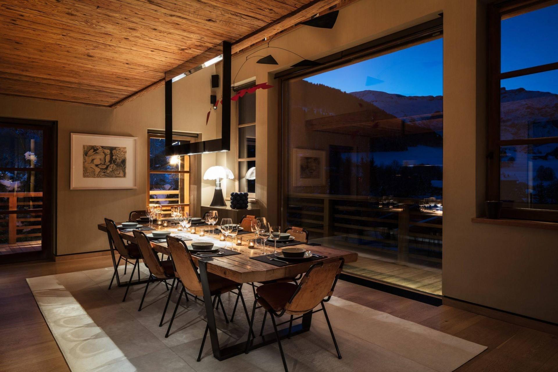 Megève Luxury Rental Chalet Cajuella Dining Area