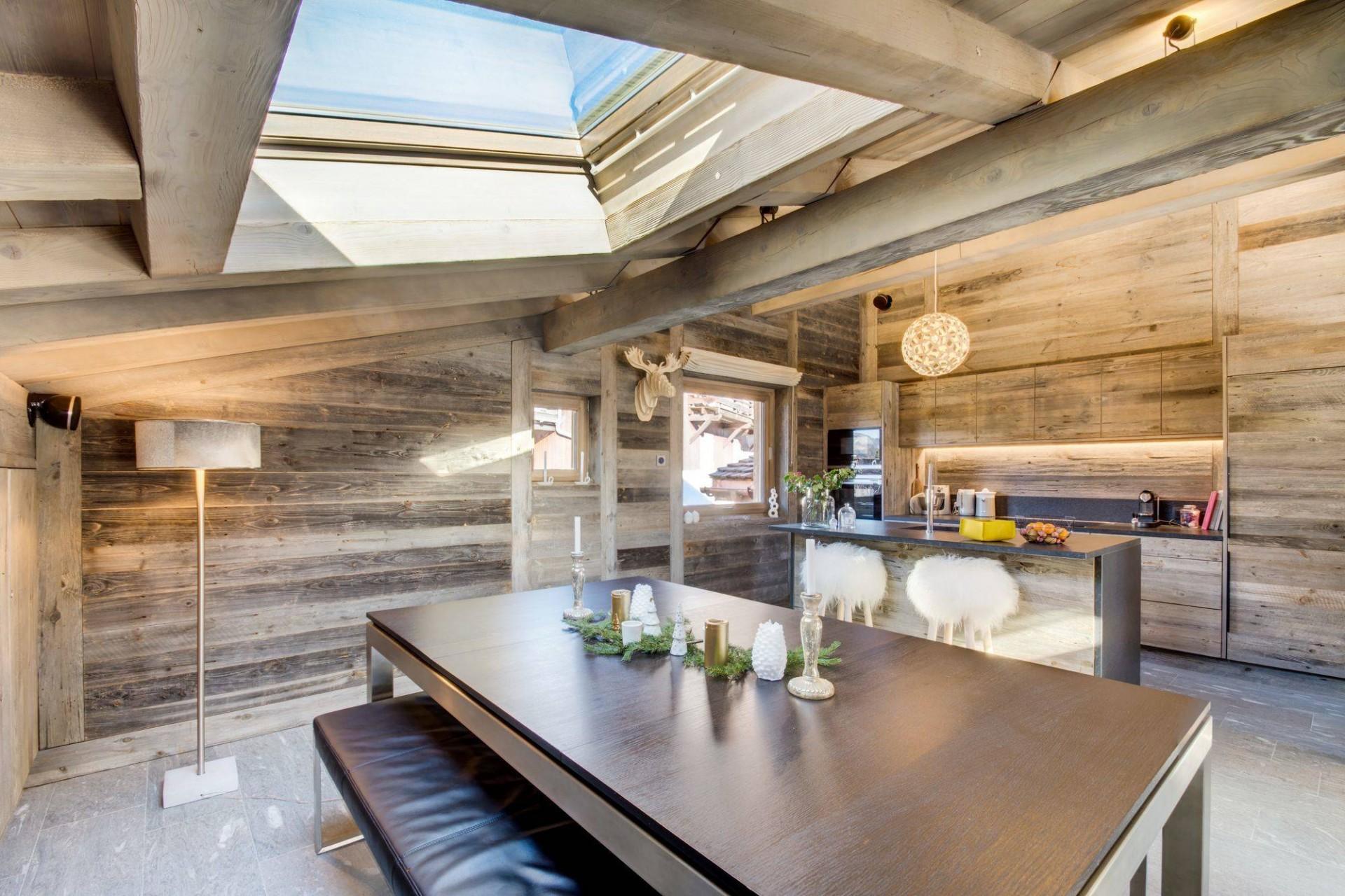 Megève Luxury Rental Chalet Taxo Dining Area