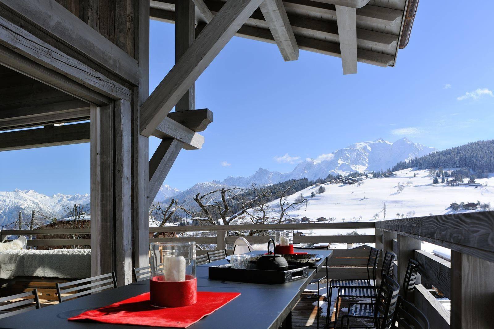 Megève Luxury Rental Chalet Taxone Terrace