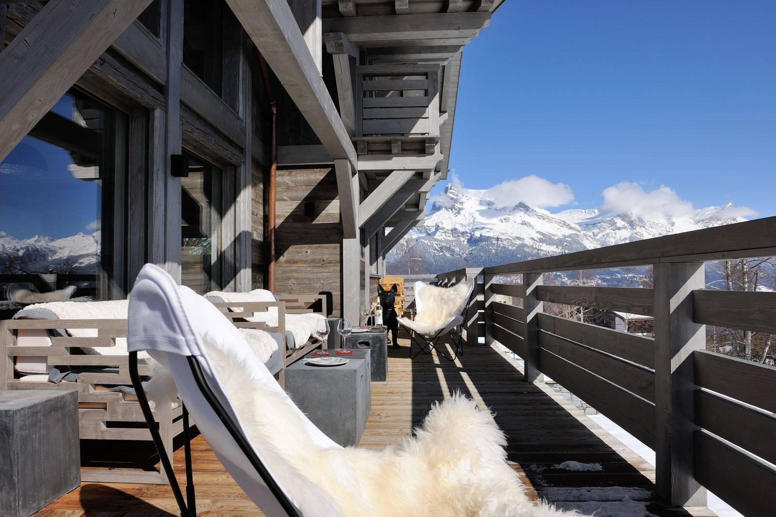 Megève Luxury Rental Chalet Taxone Terrace 2