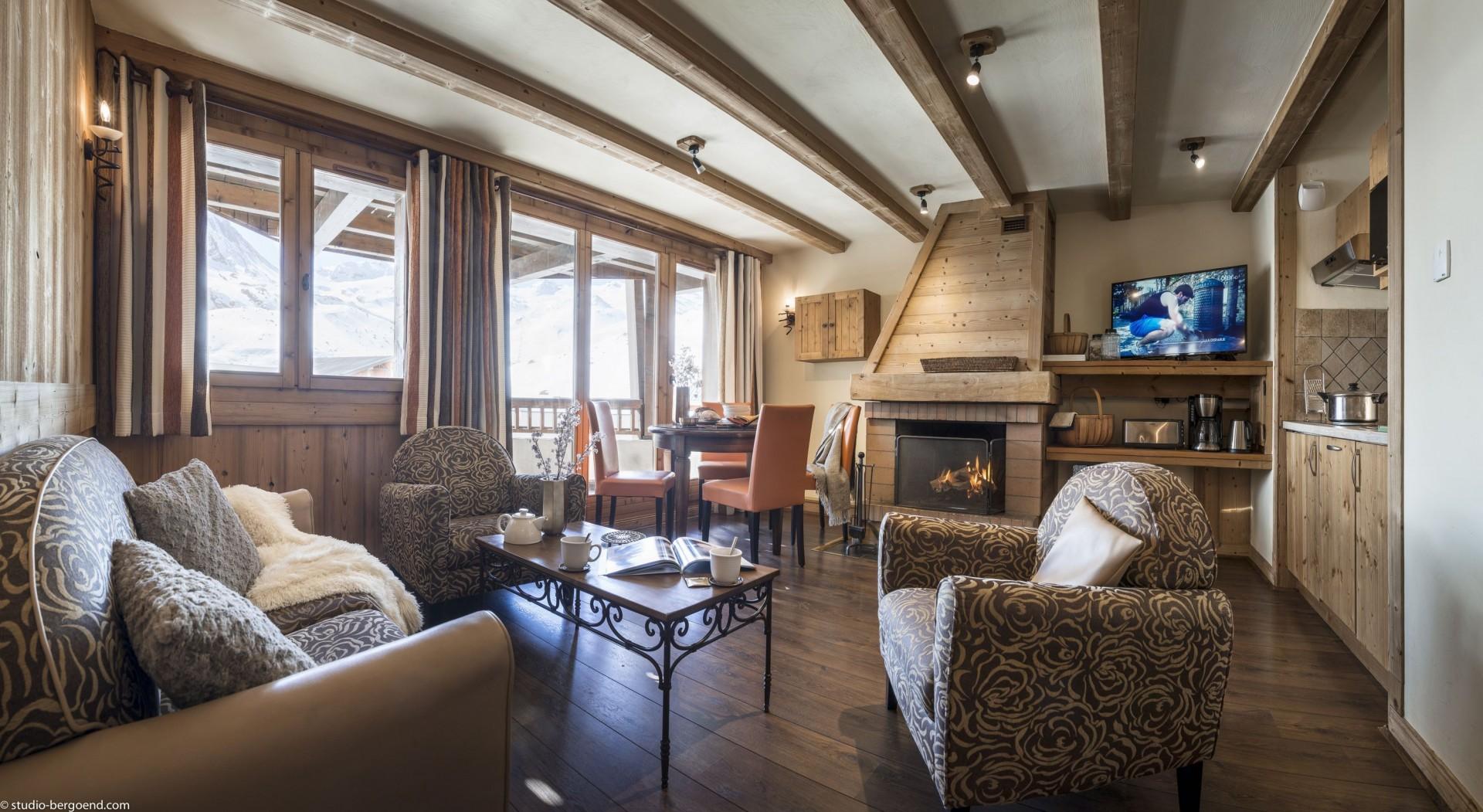 Val Thorens Rental Appartment Luxury Volfsanite Living Room