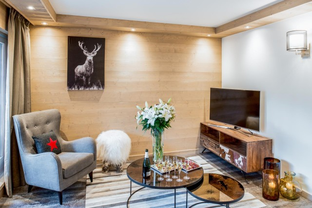 Courchevel 1650 Luxury Rental Appartment Amarile Living Room