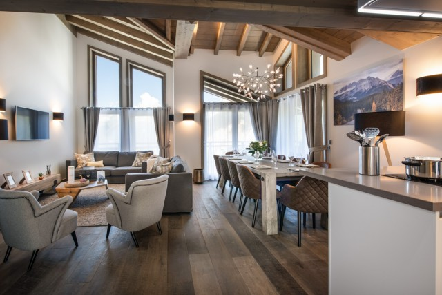 Courchevel 1650 Luxury Rental Chalet Akarlonte Living Room