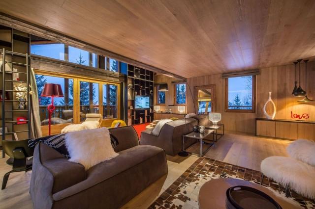 Courchevel 1650 Luxury Rental Chalet Nezilovite Living Room