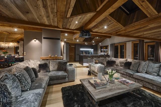 Les Gets Luxury Rental Chalet Gedrute Living Room