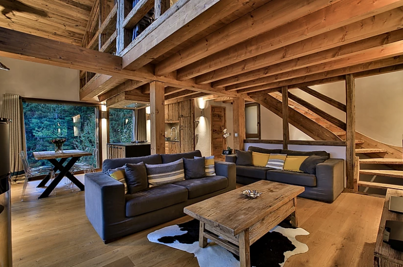 Chamonix Luxury Rental Chalet Coraudin Living Room 4
