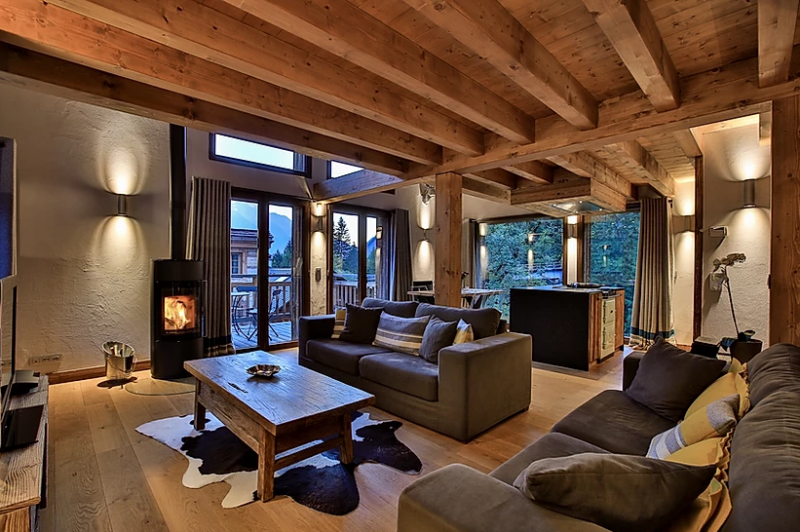 Chamonix Luxury Rental Chalet Coraudin Living Room