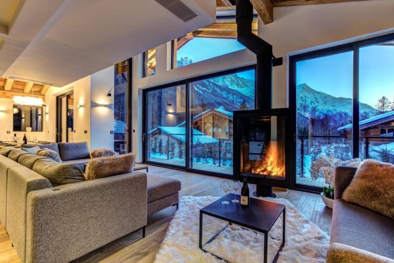 Chamonix Mont Blanc Location Chalet Luxe Paradamote Salon 1