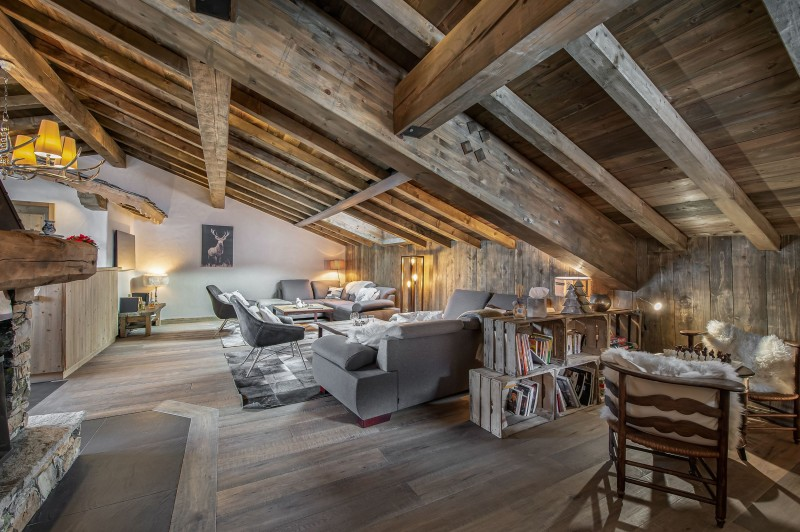 Courchevel 1300 Luxury Rental Chalet Noubate Living Room