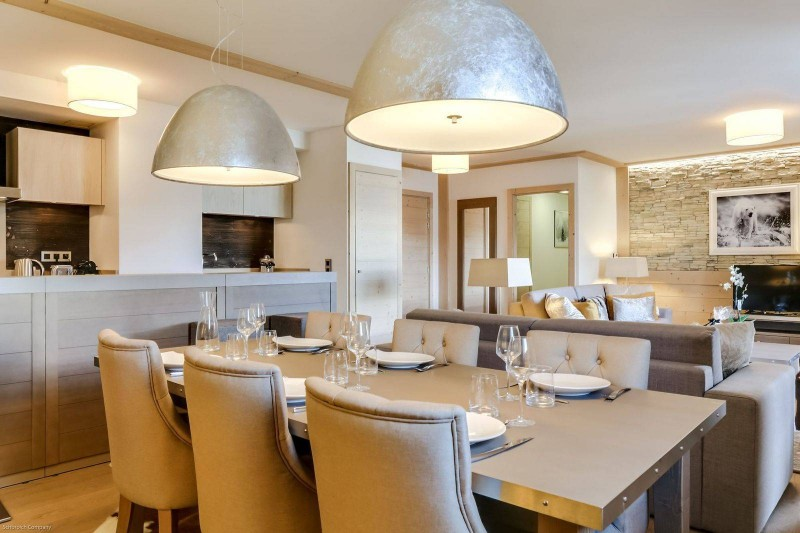 Courchevel 1550 Luxury Rental Appartment Telamite Dining Room
