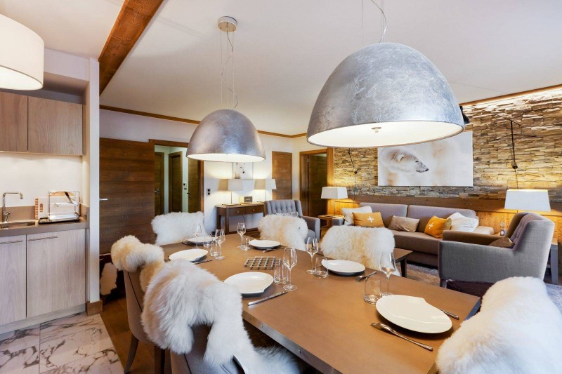 Courchevel 1550 Luxury Rental Appartment Telokia Dining Room