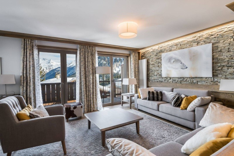 Courchevel 1550 Luxury Rental Appartment Telomite Living Room