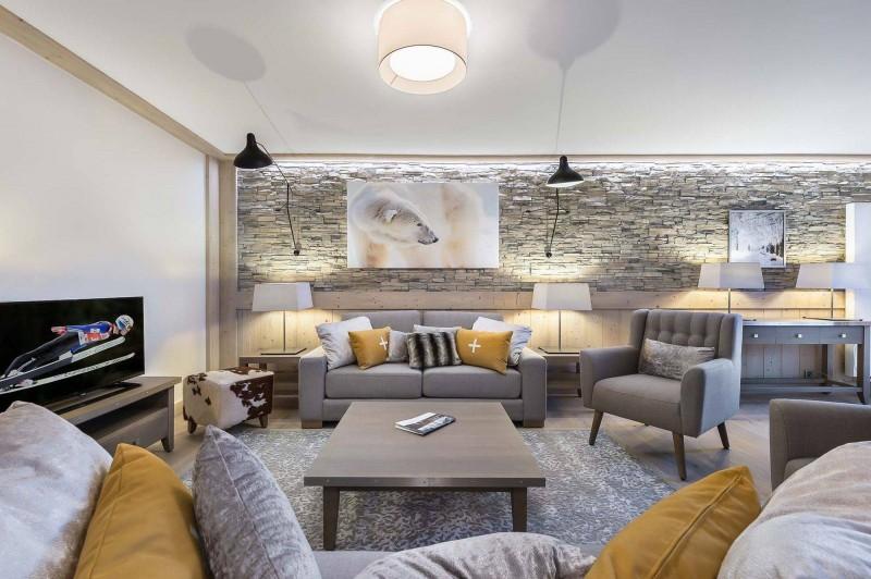 Courchevel 1550 Luxury Rental Appartment Telumite Living Room