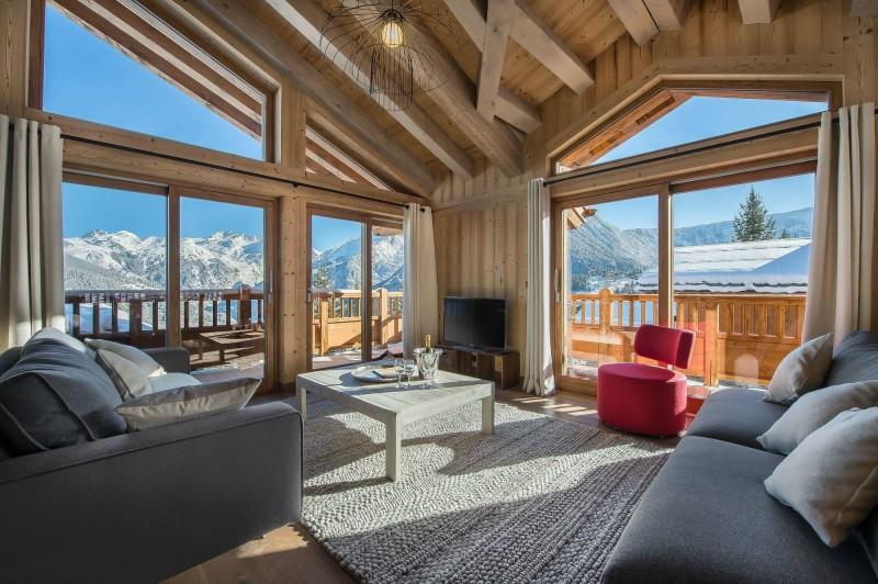 Courchevel 1550 Luxury Rental Chalet Nibite Living Room