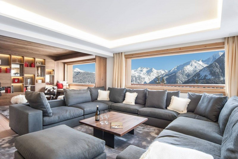 Courchevel 1550 Luxury Rental Chalet Niebite Living Room
