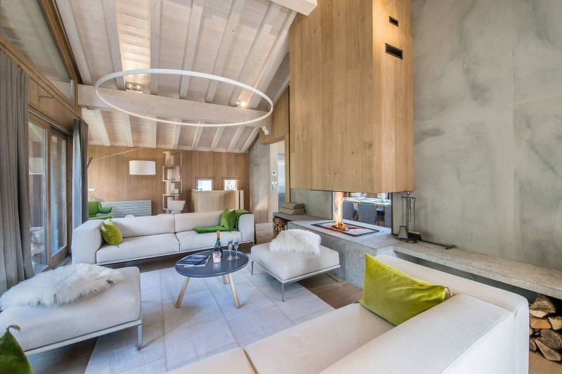 Courchevel 1550 Luxury Rental Chalet Niubite Living Room