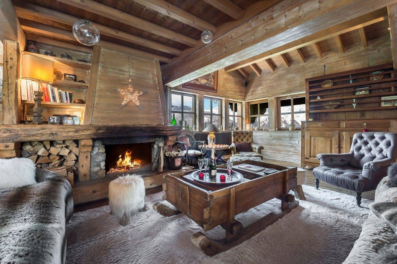 Courchevel 1550 Luxury Rental Chalet Tazoy Living Room 3