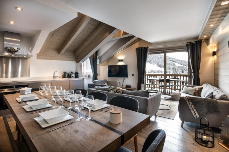 Courchevel 1650 Luxury Rental Appartment Altanto Living Room