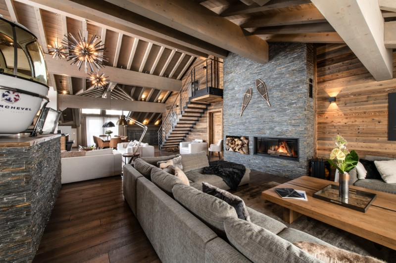 Courchevel 1650 Luxury Rental Appartment Amerile Living Room