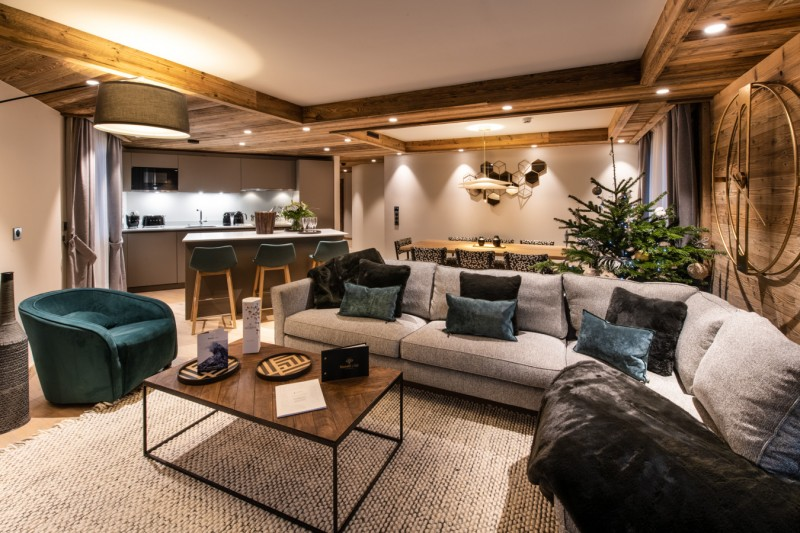 Courchevel 1650 Luxury Rental Appartment Aurilite Living Room