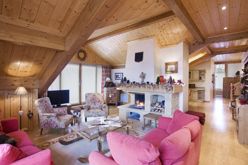 Courchevel 1850 Luxury Rental Appartment Albatre Living Room