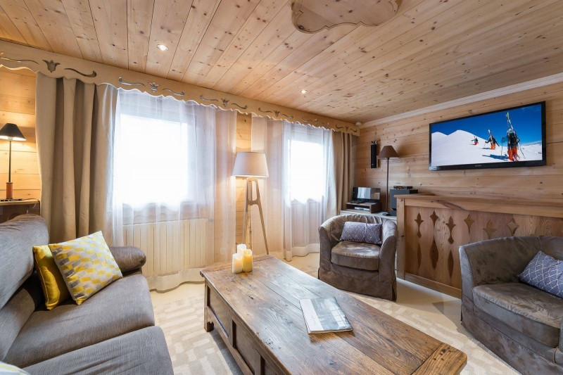 Courchevel 1850 Luxury Rental Appartment Tavorite Living Room