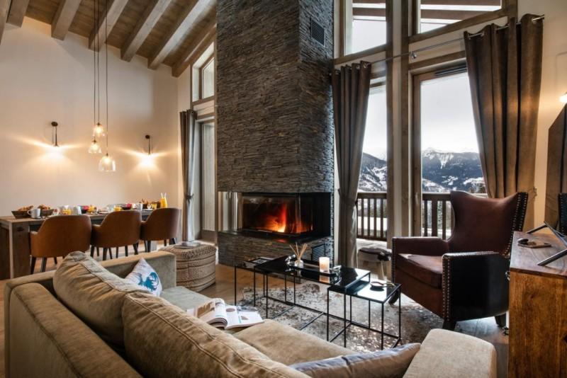La Tania Luxury Rental Chalet Alta Living Room 3