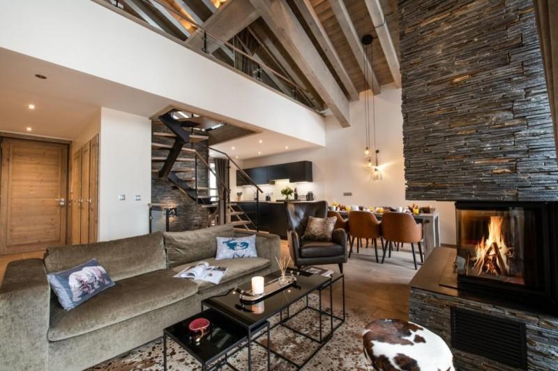 La Tania Luxury Rental Chalet Alta Living Room 4