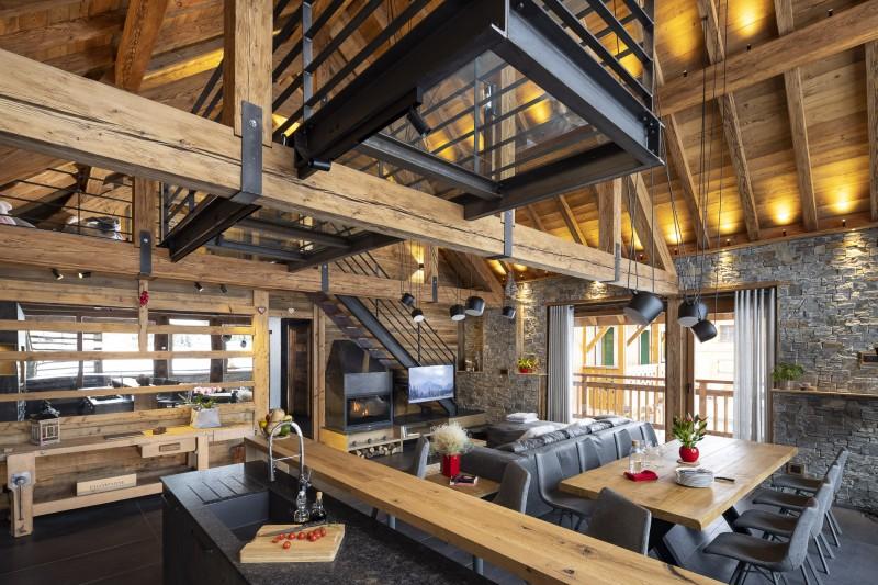 Les Deux Alpes Luxury Rental Chalet Cervantute Living Room
