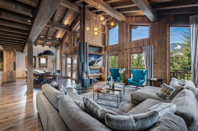 Megève Luxury Rental Chalet Sesanity Living Area