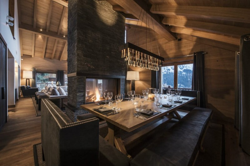 Meribel Location Chalet Luxe Granizite Table A Manger