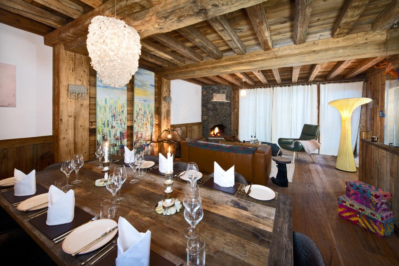 Val D'Isère Location Chalet Luxe Umbite Salle A Manger